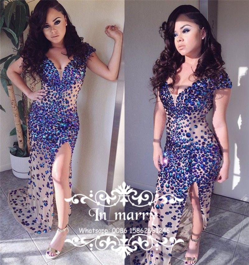 luxury royal blue rhinestone 2k17 prom dresses 2017 sexy mermaid v