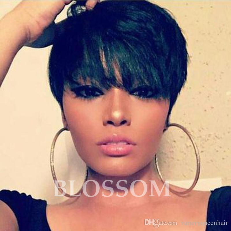 100% Brazilian Human Black Hair Glueless Wig Human None Lace Front Wig Chic Cut Short Wigs Hairstyle Lace Wig For Black Women