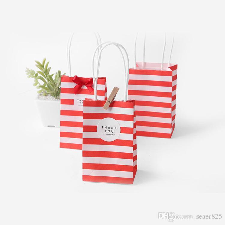 Pequeño regalo envoltura de papel bolsa con manijas arco cinta raya bolso galletas caramelo festival regalos envolver bolsas joyería cumpleaños bodas fiesta favores