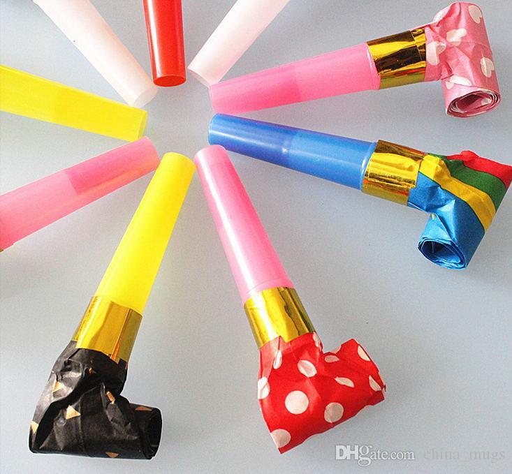 Toptan renk plastik kağıt ejderha 6.5 cm darbe düdük üfleme hacmi doğum günü partisi Noel tezahürat boynuz ücretsiz teslimat faaliyetleri sahne