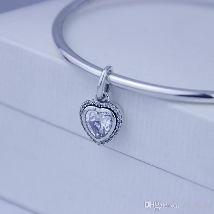Garantia de 100% de Prata Esterlina 925 Jóias de Prata pingente de coração com Clear Cz Serve Pulseira Pandora Diy Bead Atacado moda / lote