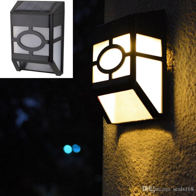 Practical 9 Led Fence Light Solar Powered Lamp Outdoor Waterproof Night Lamp For Garden Warm White Led Lamps