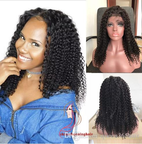 150 density kinky curly human hair lace wig kinky curl full lace and lace front wig body wave