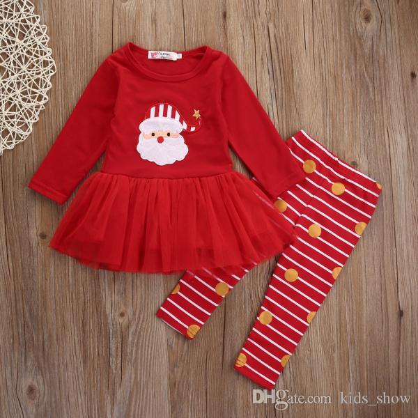 عيد الميلاد 2 قطع عيد الميلاد طفل الوليد الرضع الأطفال كيد الطفل أطفال فتاة الأحمر مخطط سانتا توتو تنورة قمم + طماق الملابس