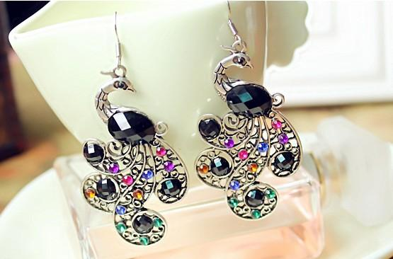 Charm Jewelry Earrings Hanging Cut Out Multi Color Rhinestone Peacock Earrings Party Earrings Gifts For Her