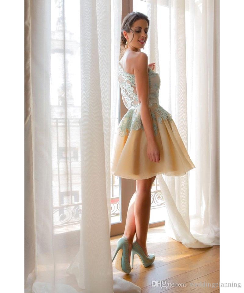 Um Ombro Rendas Sexy Curto Prom Vestidos Barato Sem Mangas Moda Estilo Prom Dress Na Altura Do Joelho Vestido De Festa Vestidos de Festa Vestidos