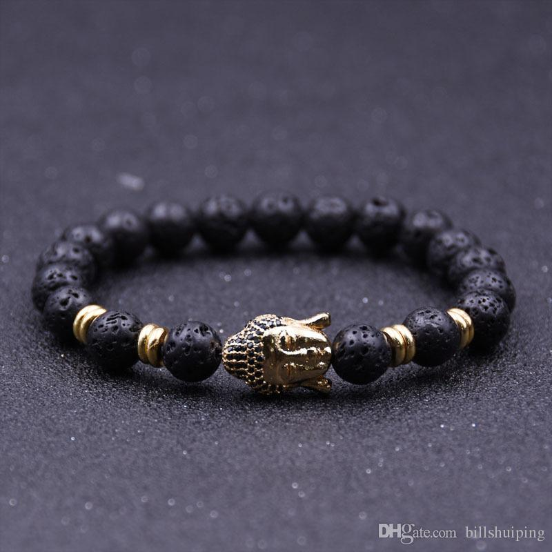 Venta al por mayor nuevo difusor hecho a mano pulseras de piedra natural joyería de las mujeres encantos roca volcánica cabeza de Buda granos para hombres