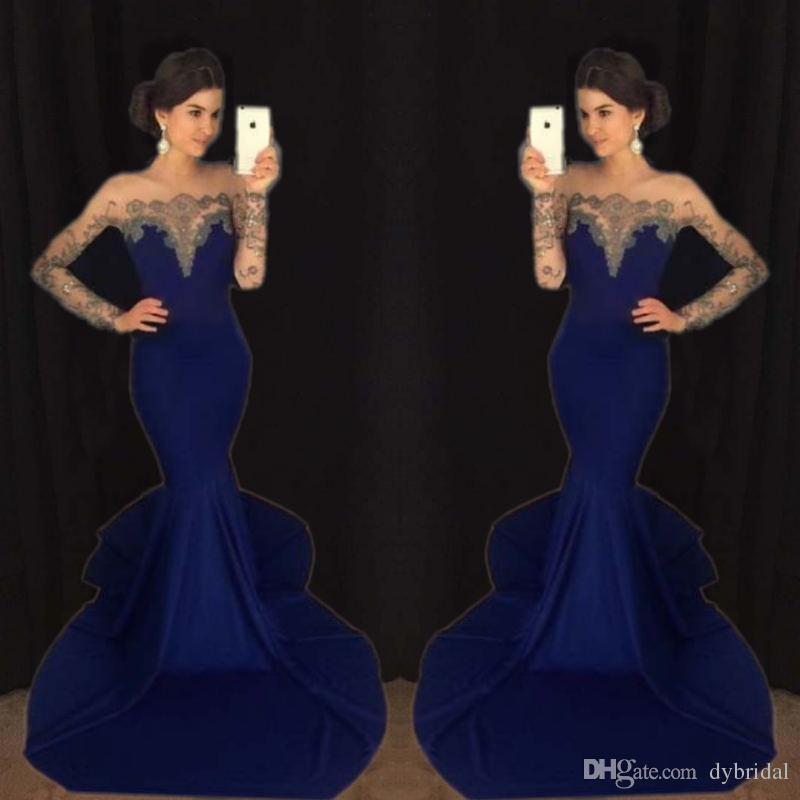 Großhandel Abendkleider Marineblau 2018 Sexy Billige Meerjungfrau ...