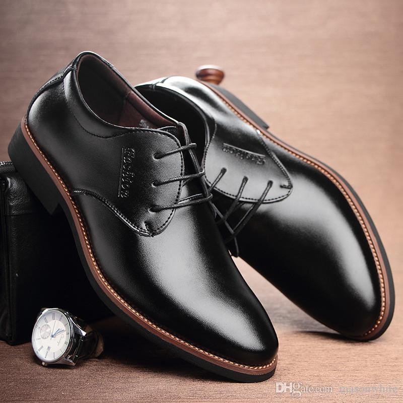 sports shoes 80c27 67623 Kleid Schuhe Mens Business Mikrofaser Pu Leder Kleid Schuhe Großhandel für  Männer Decent Business Schuhe für die Sitzung Büro Herren US 6-10.5