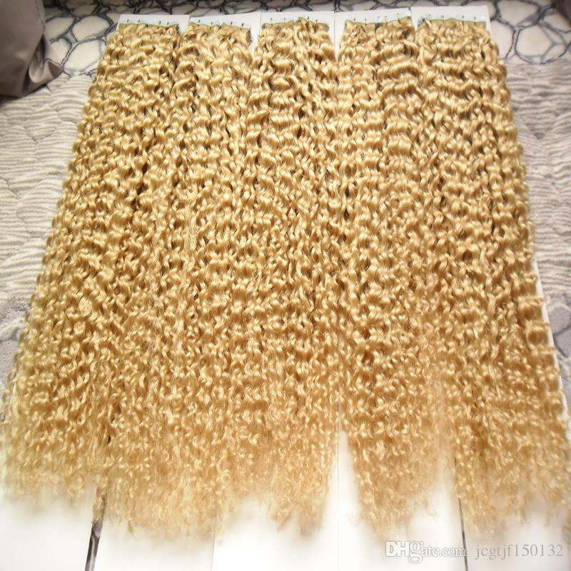 Color 613 Bleach Blonde Brazilian Hair 500g Apply Tape Adhesive Skin Weft Hair Brazilian Kinky Curly Tape In Human Hair Extensions