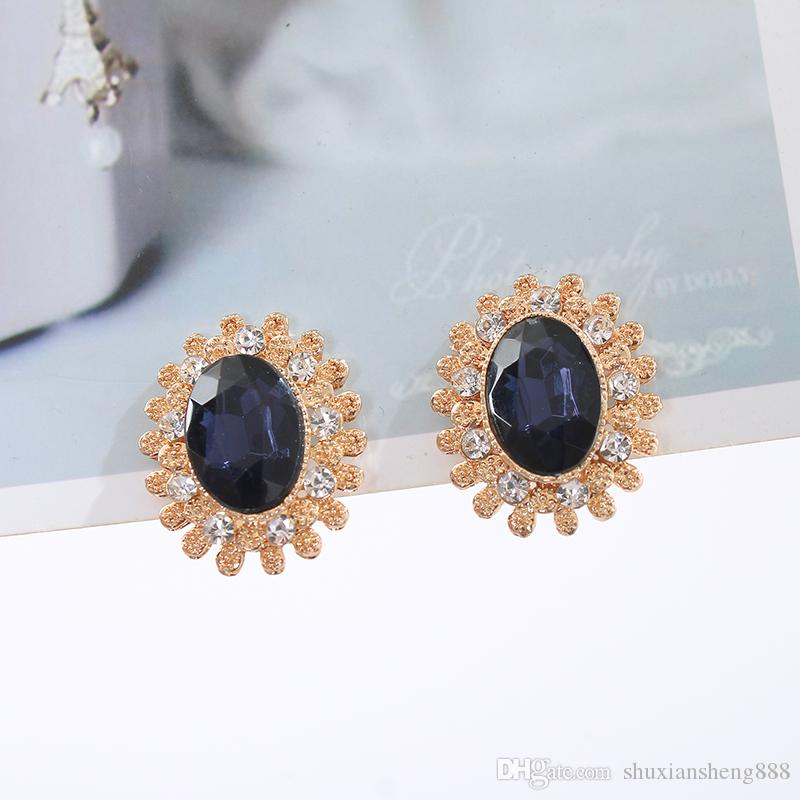 Blue Zircon Crystal Ear Cuff for women Rose Gold color fashion Jewelry earring female Brincos ear cuff top quality