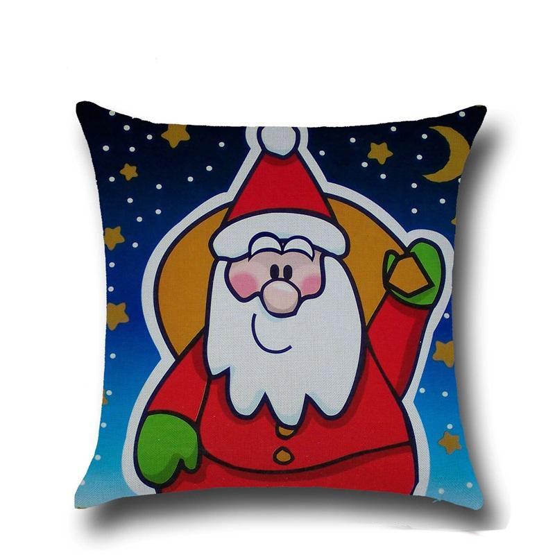 High Qulity Christmas Cushion Covers For Sofa Comfortable Santa Claus Printed Pillowcases Cotton Decorative Pillow Case