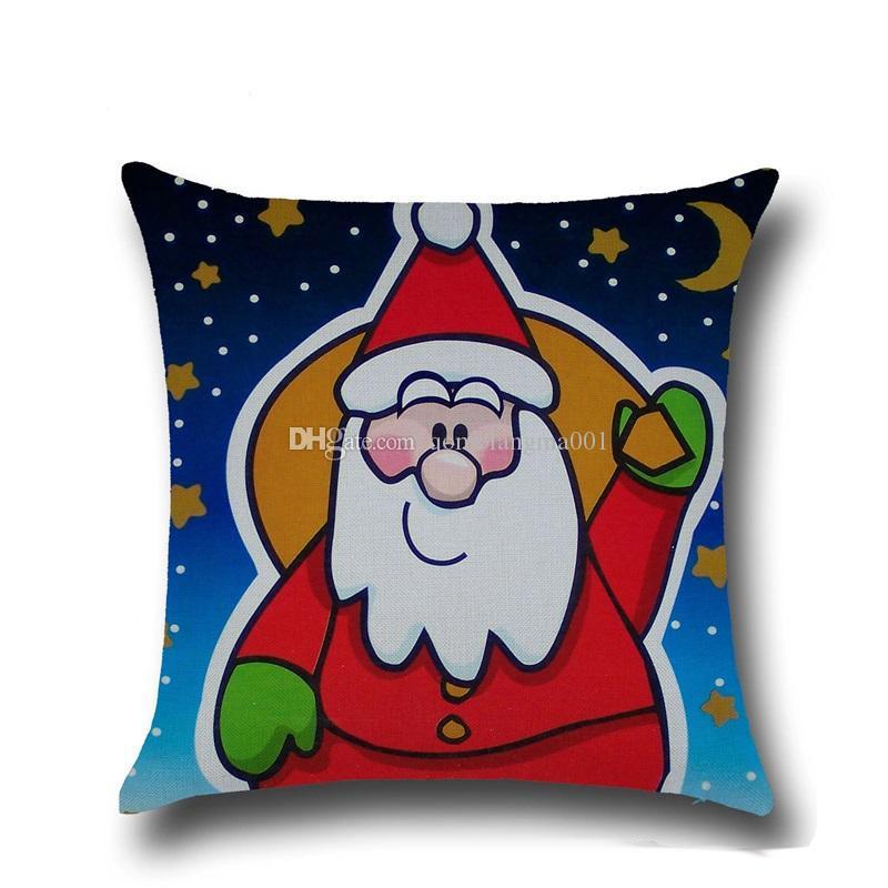 Hohe Qulity Weihnachtskissenbezüge für Sofa Komfortabler Weihnachtsmann Gedruckt Kissen- Cotton Kissenhüllen