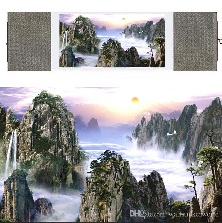 HD Printed Mountain And River Wall Pictures Chinese Scroll Silk Wall Art Poster Picture Painting Home Decoration Wall Hanging