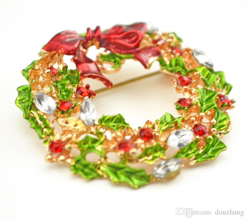 Fashion Gold Plated Rhinestone Crystal Leaf Flower Bow Bowknot Wreath Brooch Pin Xmas Christmas Gift