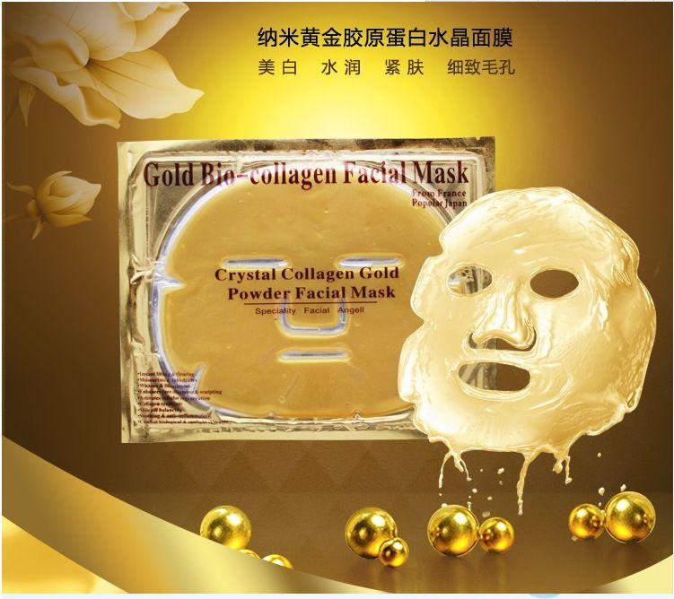 Altın Bio-Kolajen Yüz Maskesi Yüz Maskesi Kristal Altın Tozu Kollajen Yüz Maskeleri Nemlendirici Anti-aging güzellik ürünleri