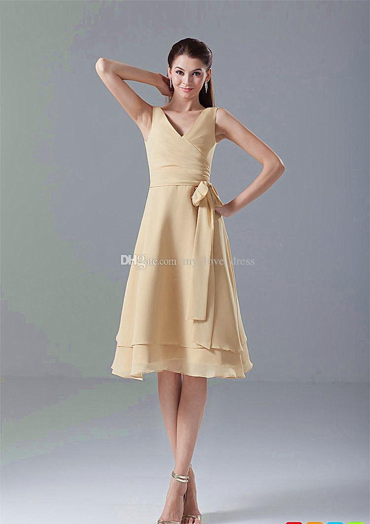 Robe de mère de mousseline de soie au genou au genou longueur champagne mousseline 2 couches robe de soirée à volants