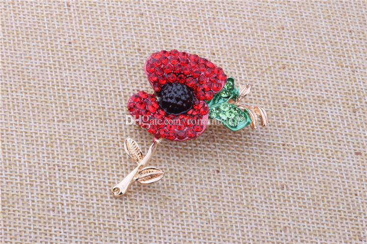 Alta calidad grande Red Poppy Flower Broche Pin Diamante Crystal Gold Silver Union plateado Reino Unido Remebrance Day regalo DHL envío gratis