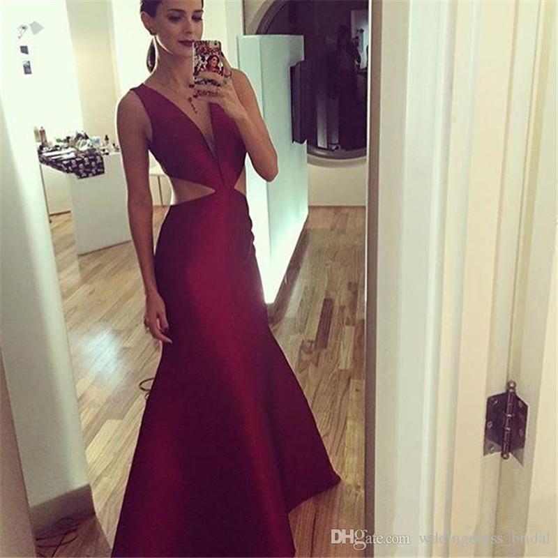 2019 sin mangas cuello en V profundo rojo oscuro vestidos de noche corte de la longitud del piso de la envoltura vestidos de baile elegante vestidos de noche formales desgaste