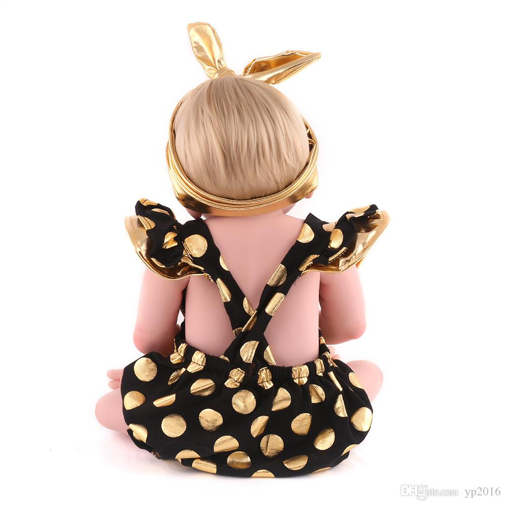 55 cm bunny Full Silicone Body Baby girl Dolls Alive Lifelike Dolls Girl toy Realistic Boneca BeBe Bathing dolls gift