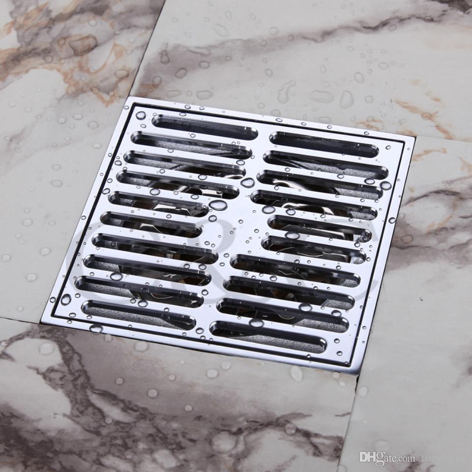 Bathroom Balcony Copper Deodorant Square Floor Drain Strainer Cover Sink  Grate Waste Silver Color 4 Inch 9101 Floor Drain Bathroom Floor Drain Floor  Drain ...
