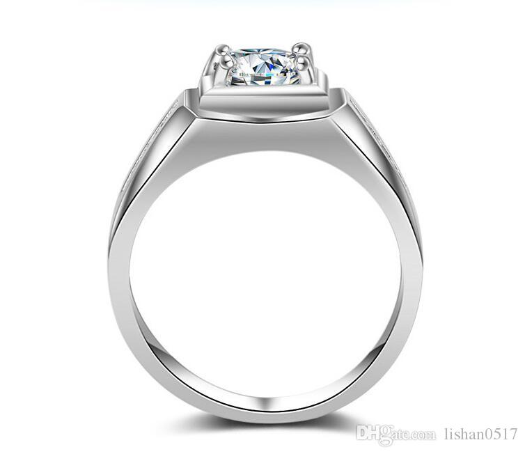 LSL Jewelry luxury CZ diamond square designs engagement wedding white gold men ring 2016 with zircon stone US size 7-12
