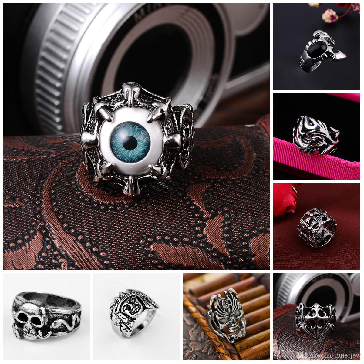 pretty Stainless Steel Rings Silver Brand Demon Eye Vintage Mens Punk Ring China Wholesale Stainless Steel Jewelry Steampunk Men's Rings