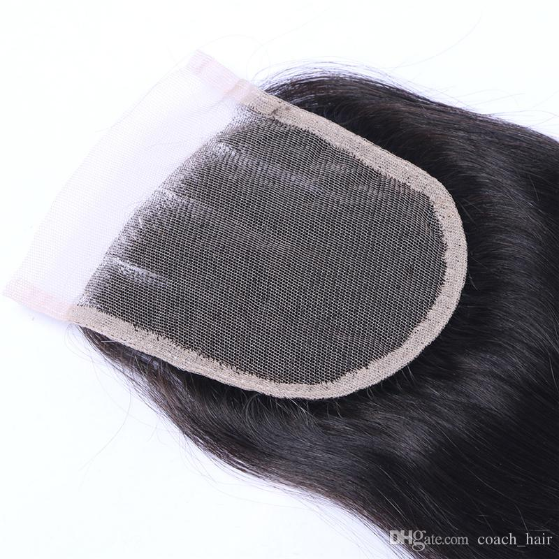 4*4 Three Part Straight Hair Lace Closure 130% Medium Density Malaysian Straight Full Lace Top Closure Pieces With Baby Hair