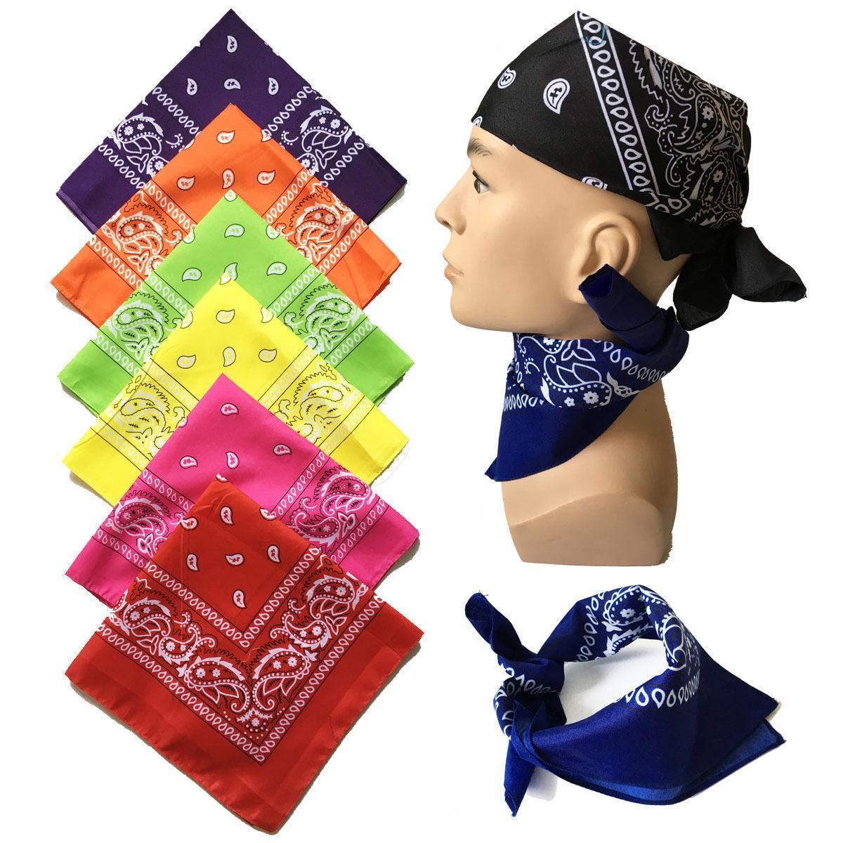 Spring Promotion for Boyfriend 100% cotton Paisley Cowboy Bandanas Hip hop Handkerchief Double sided Printed Square Multicolors Muffler