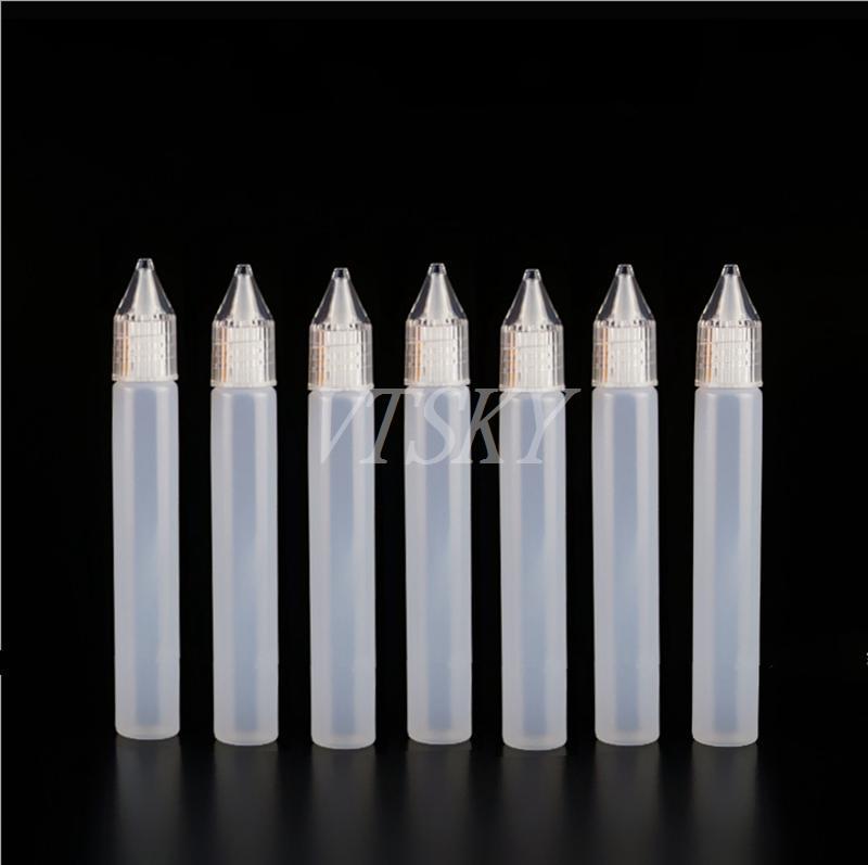 Unicorn Bottle 10ml 15ml 30ml 50ML PE Empty Bottle with And Long Thin Dropper Tip Pen Style E Liquid Bottles