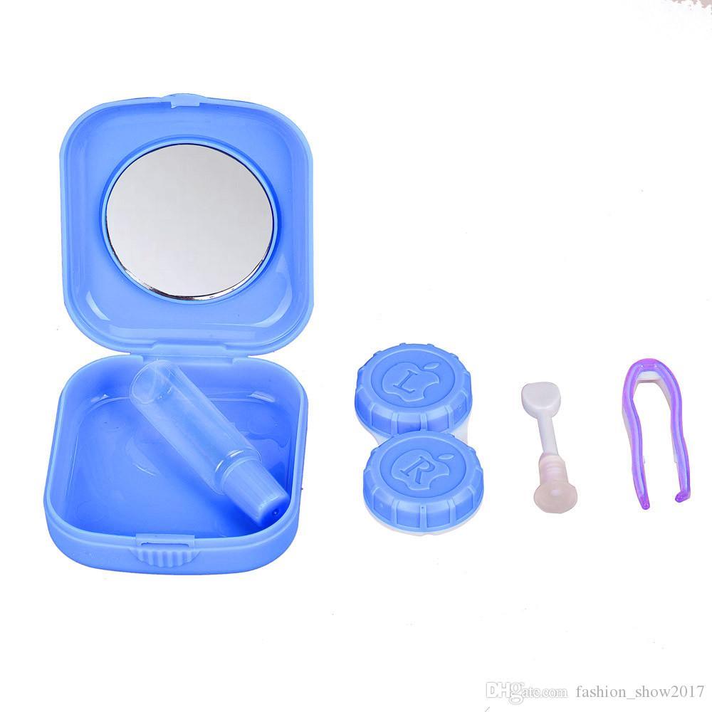 새로운 플라스틱 휴대용 미니 콘택트 렌즈 케이스 야외 여행 콘택트 렌즈 홀더 컨테이너 거울 쉽게 수행 눈 관리