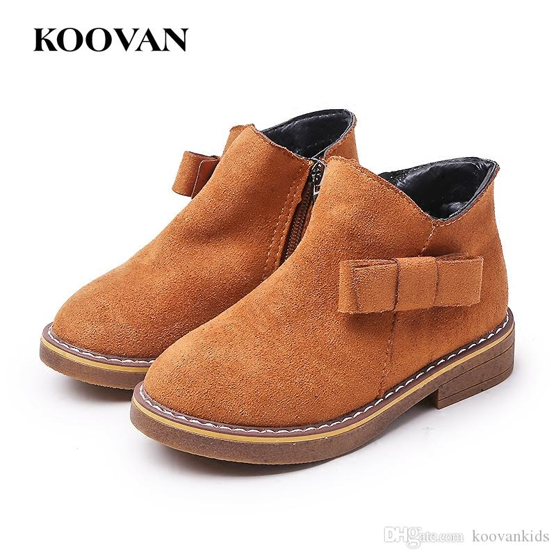 a023c24c08b0 Koovan Fashion Flock Leather Hot Sale Ankle Boots Martin Boots Kids ...