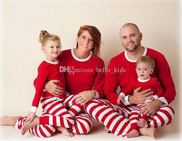 2020 xmas kinderen jongen meisjes volwassen familie matching kerst herten gestreepte pyjama's nachtkleding nachtkleding pyjama bedgown slaapcoat nighty 3 kleuren