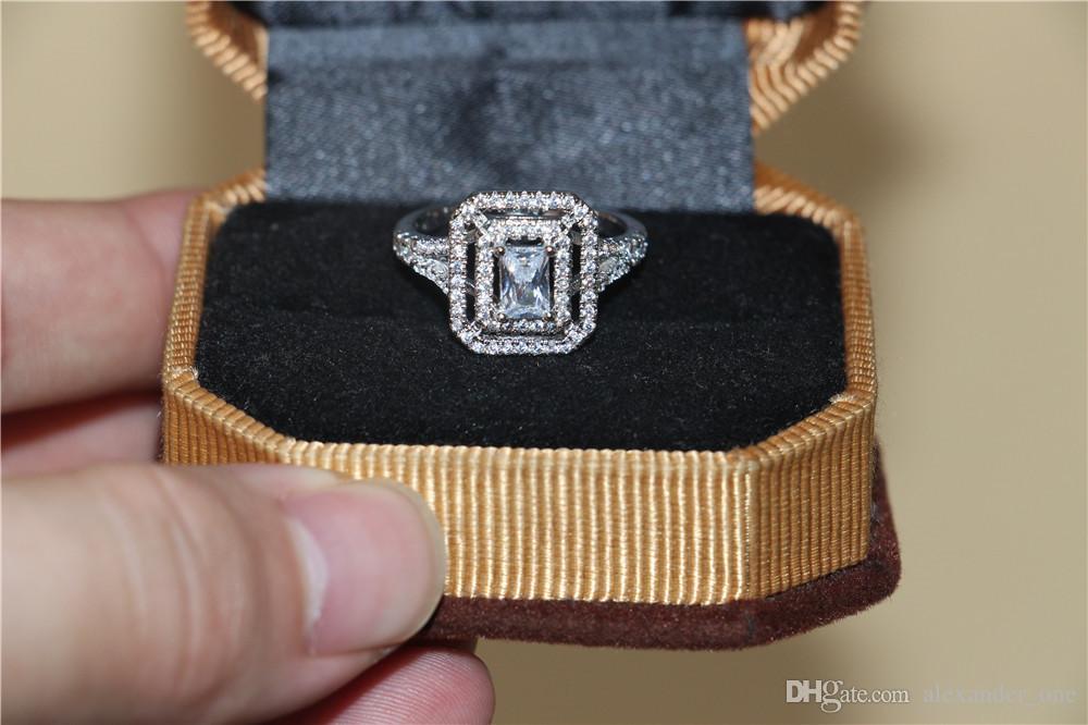 Мода 10-каратного Белого золота заполнены сети Драгоценный Камень Кольца Vintage Pave Setting Square SZ Кольца с Бриллиантами Ювелирные Изделия Обручальное Кольцо Кольца Для Женщин