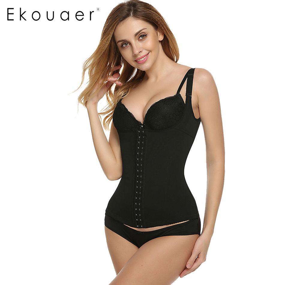 2312cf9790989 2019 Wholesale Ekouaer Women Bodysuits Shapewear Body Shaper Adjustable  Straps Waist Training Corsets Black Plus Size Cincher High Elastic Tops  From Bailanh ...