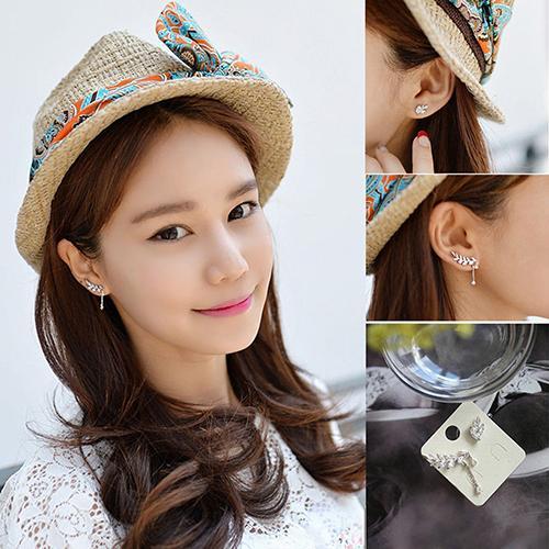 Hot! Women's Asymmetric Leaf Ear Clip Chain Drop Dangle Ear Cuff Earrings