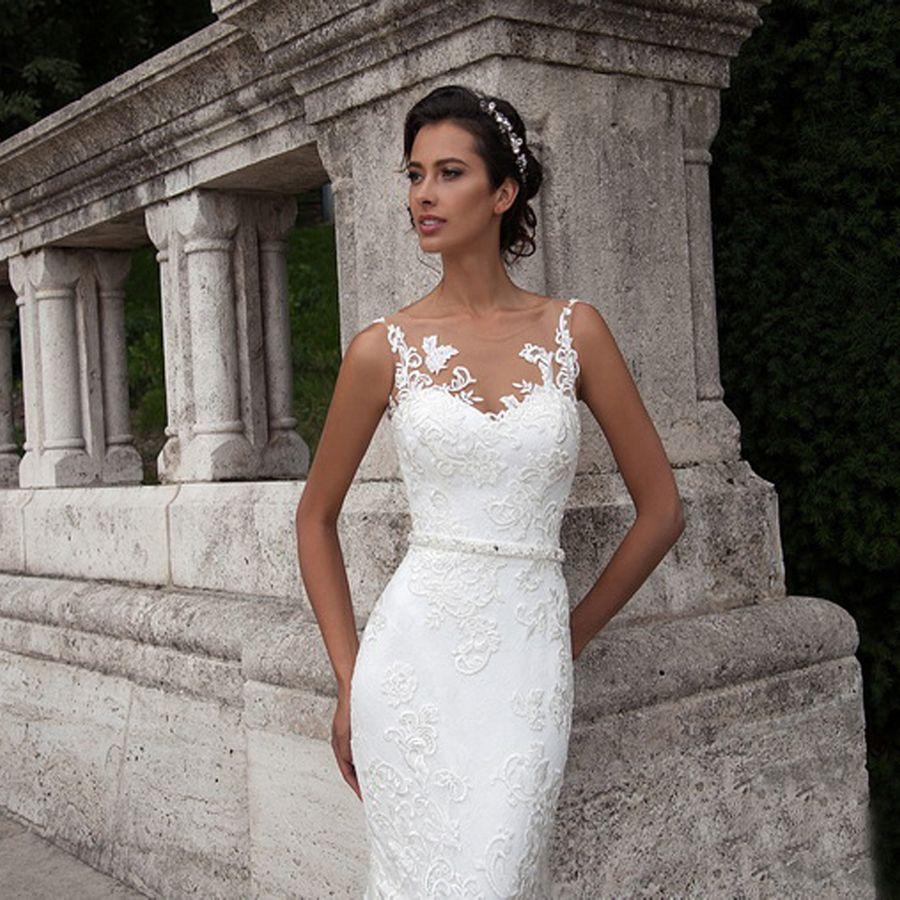 Scoop Sans Manches Blanc Dentelle Applique Robe De Mariée Sirène Perles Ceinture Cravate Bouton Longue Robe De Mariée De Mode Casamento Robe