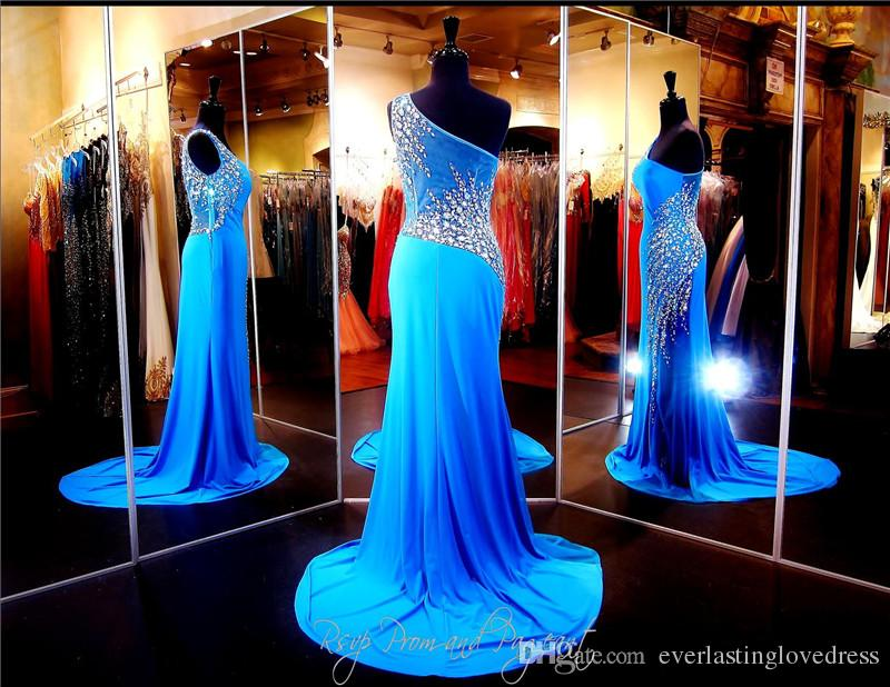 Blue One Shoulder Jersey Formfitting Evening Gown See Through Hand Beading Guaina Prom Dress Side Zipper Abito da spettacolo sexy