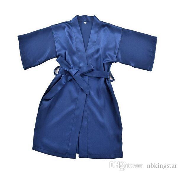 Kids Satin Rayon Solid Kimono Robe Albornoz Camisón para fiesta de spa Cumpleaños de boda