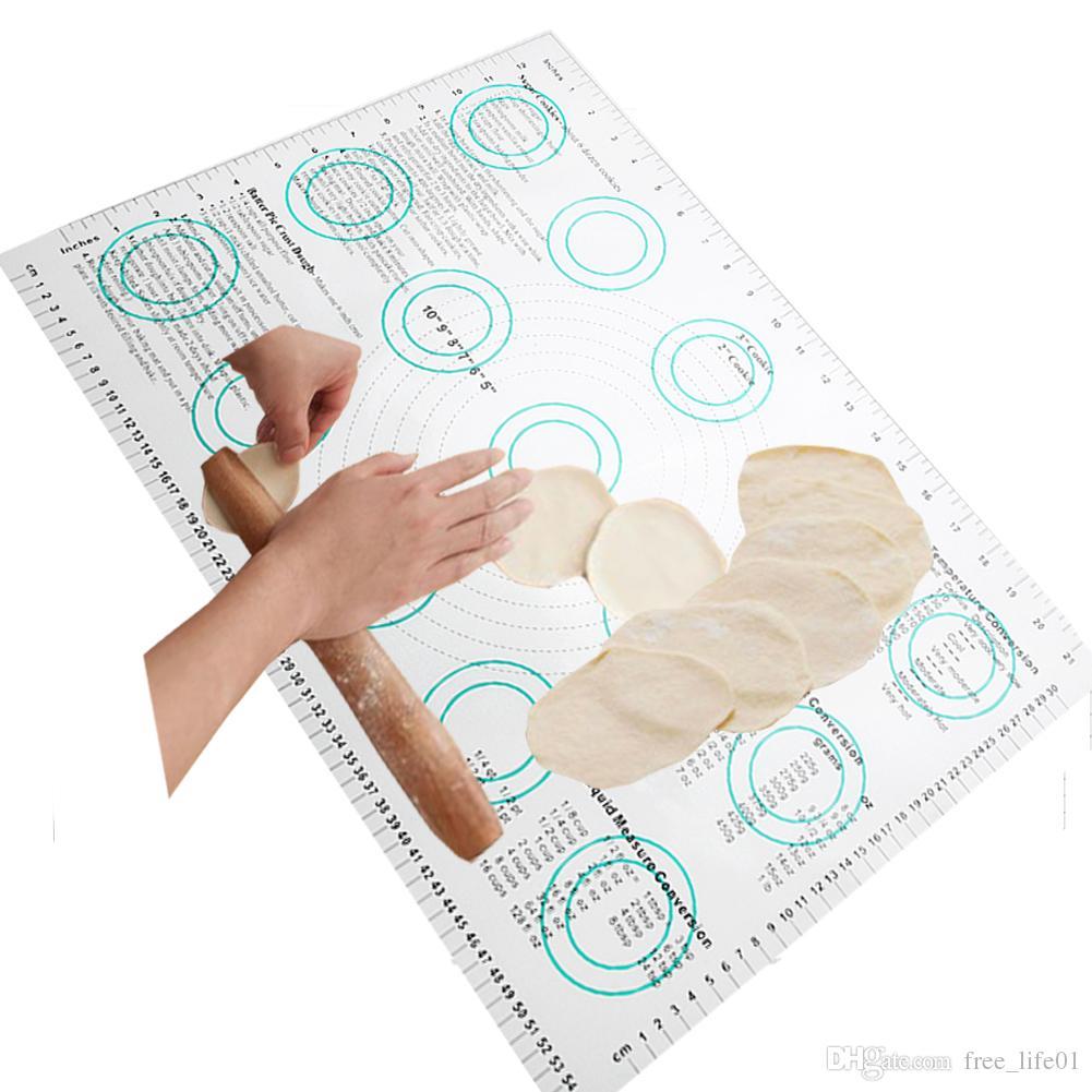 585*385mm Silicone Glass Fiber Knead Flour Mat Non-stick Pizza Pad DIY  Baking Insulation Mat Kitchen Tools