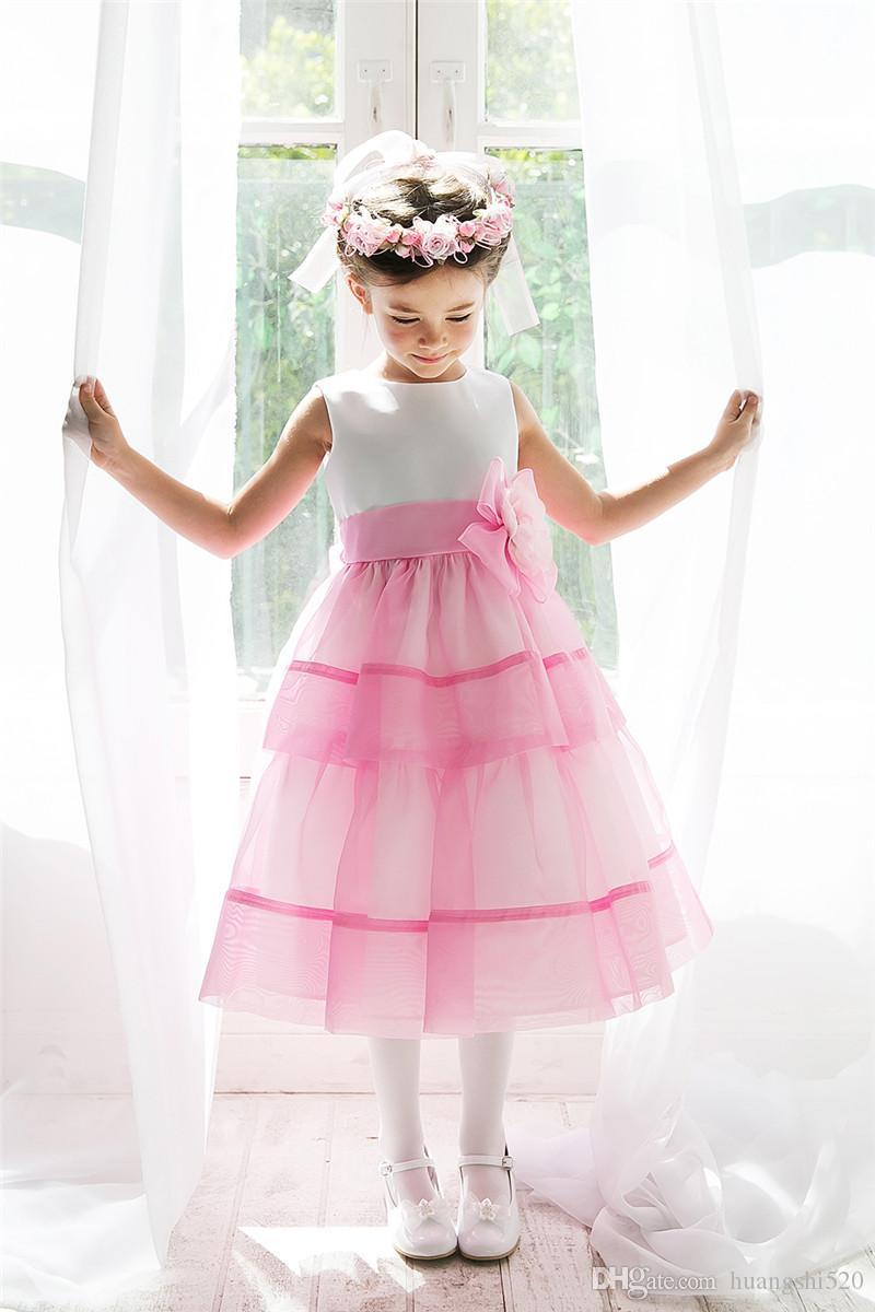 2016 Cute Princess Flower Girls Dresses White Lavender Ribbon Bow Belt Handmade Flowers Ankle Length Satin Cheap Girls Pageant Party Dress