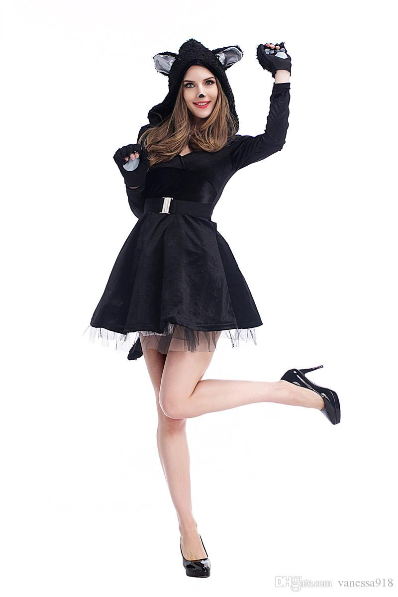 Halloween Fancy Dress Anime Catwoman Costume Adult Sexy Cat Gothic Cosplay For women costume nightclub masque party wholesale PS023