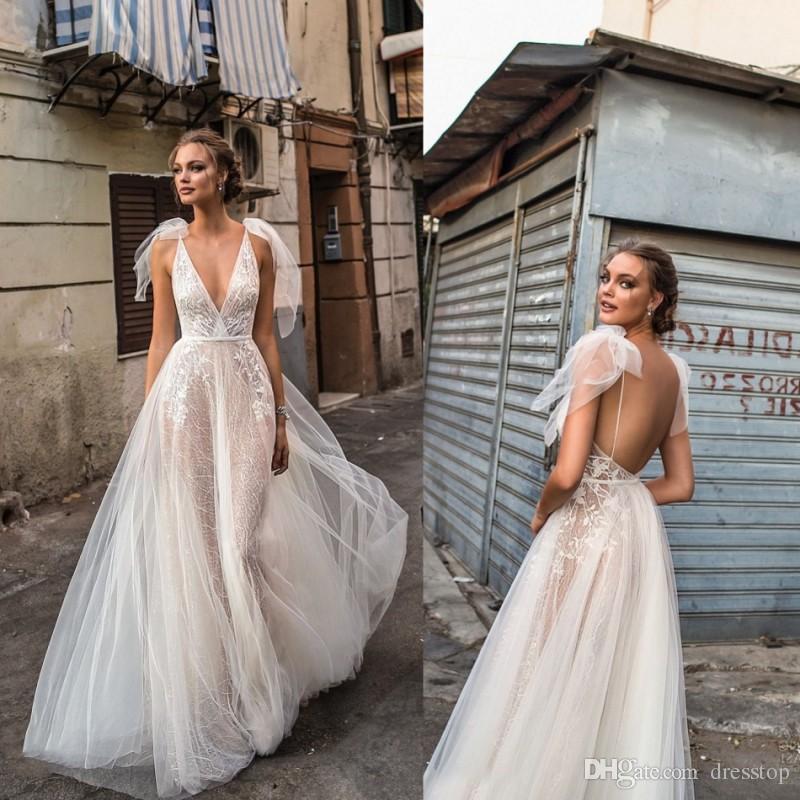 Discount Berta 2018 Elegant Lace Wedding Dresses Backless V Neckline ...