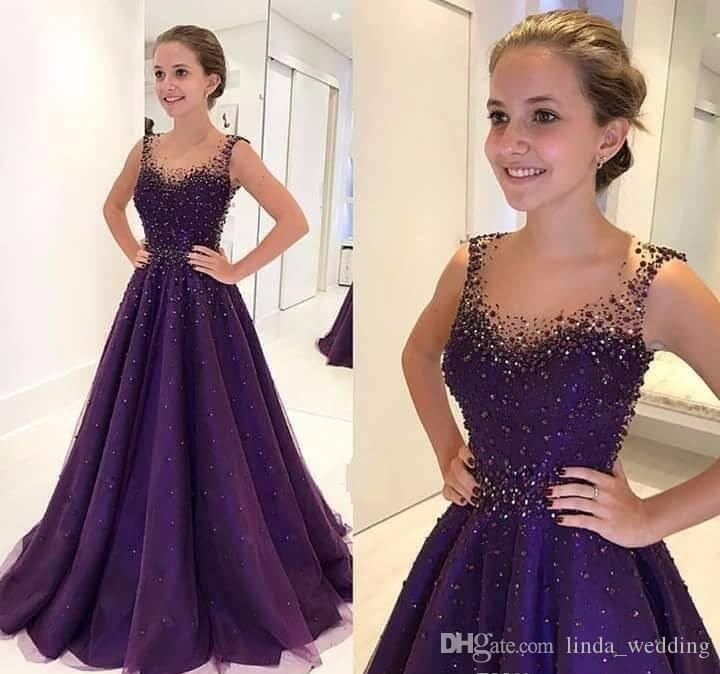 2018 Beaded Purple Evening Dress High Quality A Line Floor Length Formal Holiday Wear Prom Party Gown Custom Made Plus Size