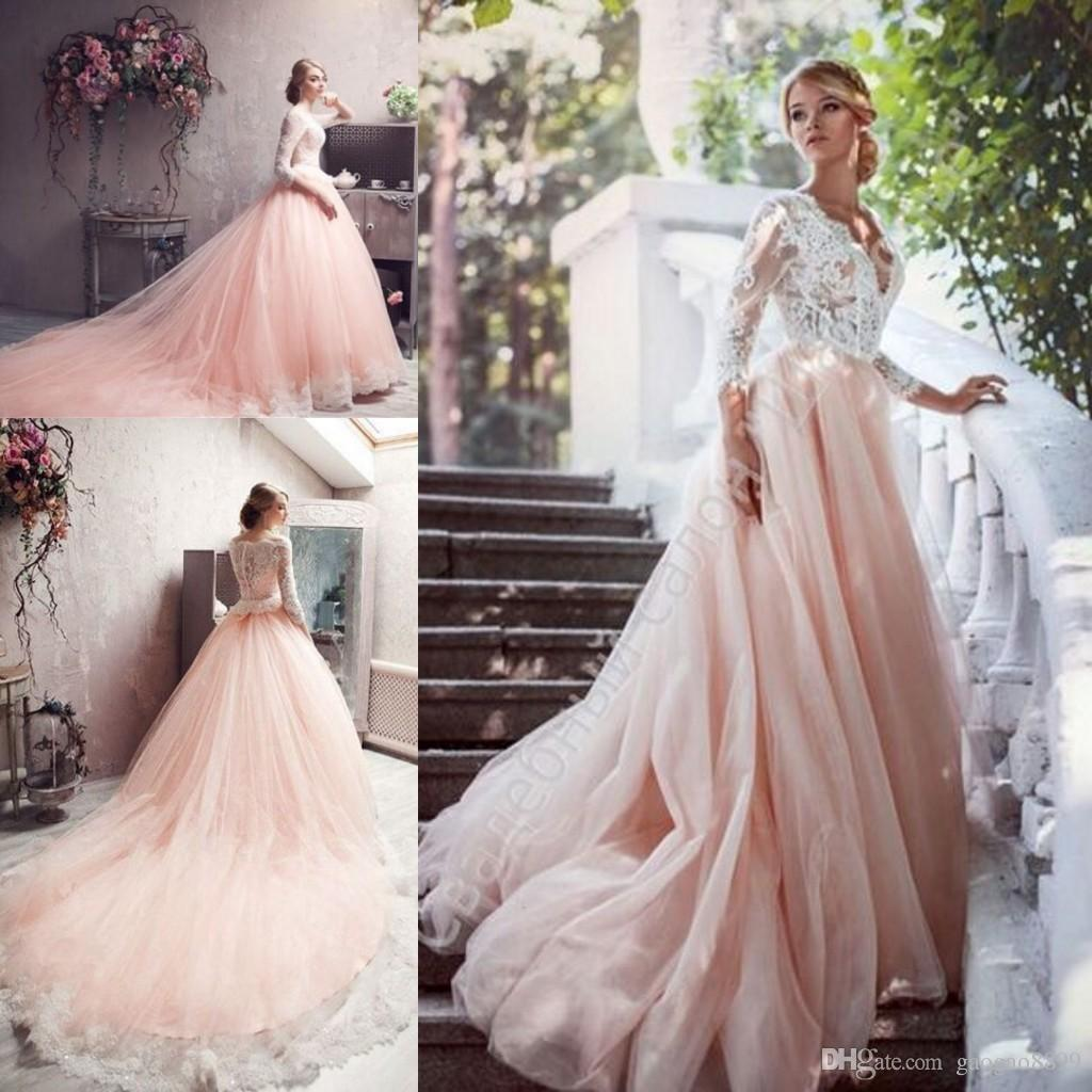 Discount 2016 elie saab new fashion blush lace long sleeve for Long sleeve blush wedding dress