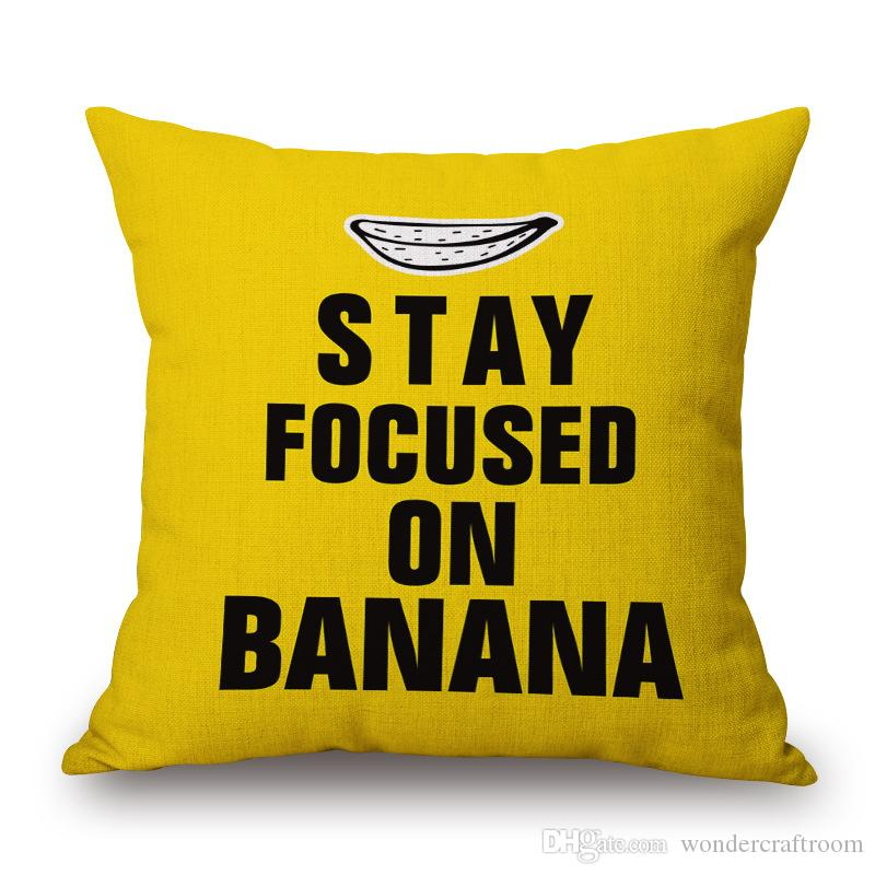 Cartoon POP Art Stay Focused On Banana English Letters Cushion Cover Stripe Pillow Case Decorative Sofa Linen Cotton Cushions Pillows Covers
