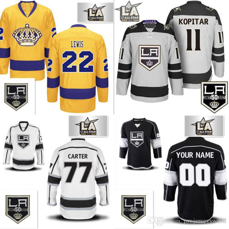 best website ae28e caa63 50th Anniversary 2017 All star Patch Los Angeles Kings Mens 8 Drew Doughty  11 Anze Kopitar 32 Jonathan Quick 77 Jeff Carter Hockey Jerseys