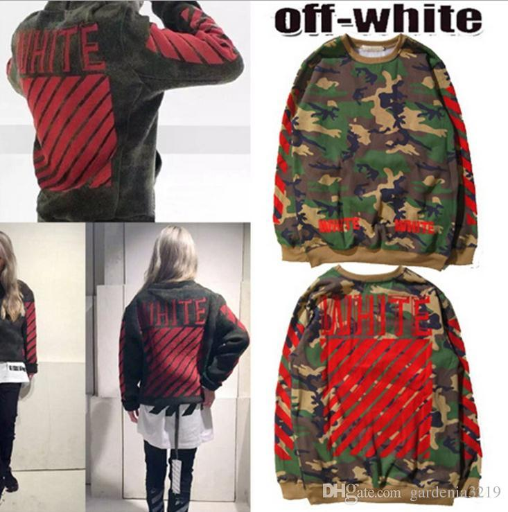 2018 Off White Hoodies Men Women High Quality Camouflage Red Head ...