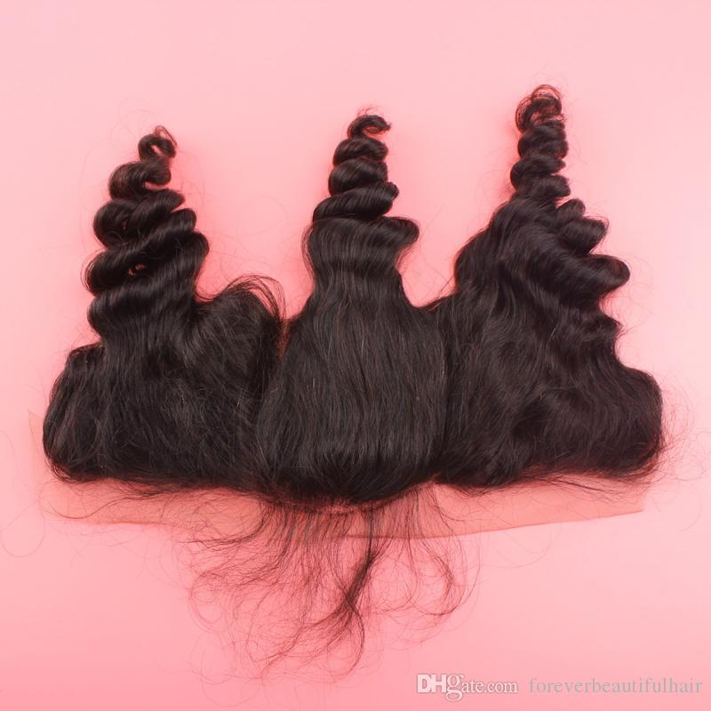 13x4 Lace Frontal Closures 100% Unprocessed Mongolian loose wave Human Hair Cheap Lace Frontals Free Part With Bleached Knots FreeShip