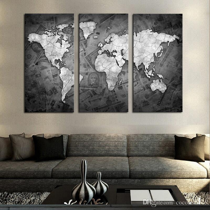 2018 frameless wall art classical grey color modern world map canvas painting contemporary. Black Bedroom Furniture Sets. Home Design Ideas